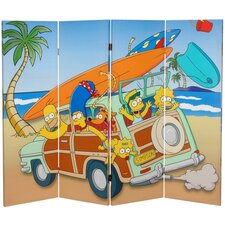 """48"""" x 63"""" Tall Double Sided Simpson Family Vacation 4 Panel Room Divider"""