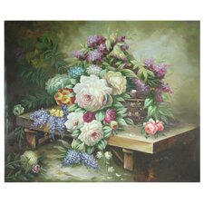 Hand Painted Table Floral Bouquet Original Painting on Wrapped Canvas