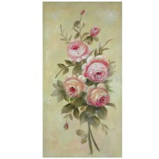 Hand Painted Rustic Roses in Bloom Original Painting on Wrapped Canvas