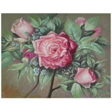 Hand Painted Portrait of a Pink Peony Original Painting on Wrapped Canvas