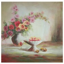 Hand Painted Evening Peaches and Flowers Original Painting on Wrapped Canvas