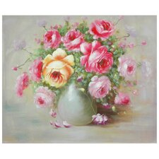 Hand Painted Peonies Boutonniere Original Painting on Wrapped Canvas