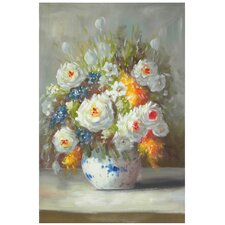 Hand Painted Peonies on a Sunlit Sill Original Painting on Wrapped Canvas