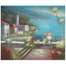 Hand Painted 'Steeple by the Riviera' Original Painting on Wrapped Canvas