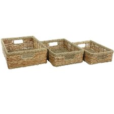 3 Piece Hand Woven Low Basket Tray Set
