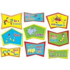 9 Piece Dr. Seuss Classroom Rules Bulletin Board Cut Out Set