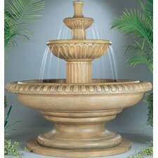 Tiered Cast Stone Palazzo Fluted Waterfall Fountain