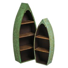 2 Piece Metal and Wood Boat Shelf Set