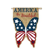 Patriotic Burlap America the Beautiful 2-Sided Garden Flag