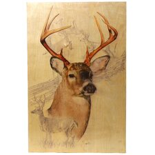 White Tailed Deer Birch Wood Wall Art