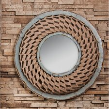 Round Metal and Woven Framed Wall Mirror