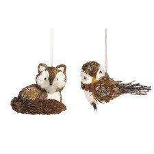 2 Piece Bristle Fox and Bird Ornament Set