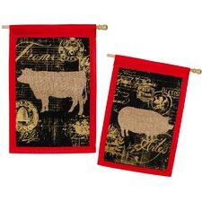 Burlap Elegant Farm House Pig and Cow Garden Flag