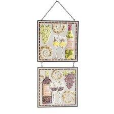 2 Piece Pinot Pinot Wine Mosaic Glass Panel Wall Decor Set