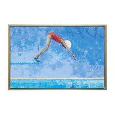 Girl Diving Framed Painting Print