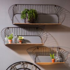 3 Piece Metal and Wood Wall Shelf Set
