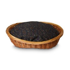 Wicker Paisley Print Dog Basket and Bed