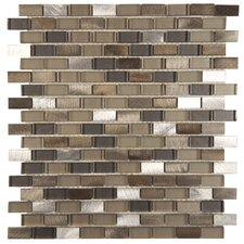 0.5'' x 1.88'' Aluminum and Glass Mosaic Tile in Aragon