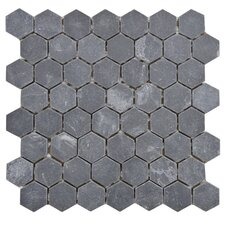 "Peak 11.13"" x 11.13"" Natural Stone Mosaic Tile in Black"