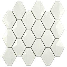 Fractal Porcelain Mosaic Tile in White