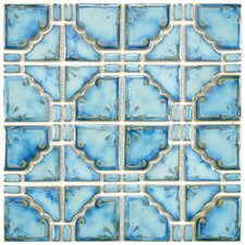 Moonlight Random Sized Porcelain Hand-Painted Tile in Diva Blue