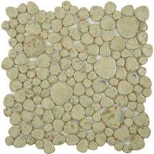 Boulder Random Sized Porcelain Mosaic Tile in Green Moss