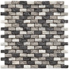"""Grizelda 0.5"""" x 1.25"""" Natural Stone Mosaic Tile in Charcoal"""