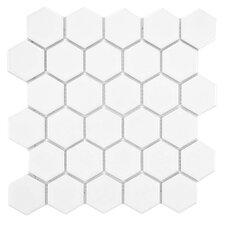 "Retro 2"" x 2"" Porcelain Mosaic Tile in Glossy White"