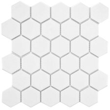 "Retro 2"" x 2"" Porcelain Mosaic Tile in Matte White"