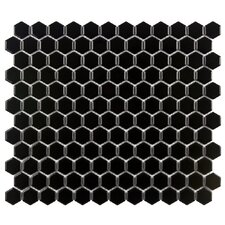 "Retro 0.875"" x 0.875"" Porcelain Mosaic Tile in Black"