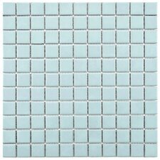 "Retro 1"" x 1"" Porcelain Mosaic Tile in Matte Light Blue"