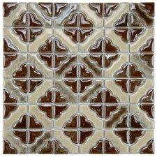 Castle Porcelain Hand-Painted Tile in Henna