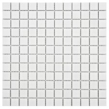 "Arctic 1"" x 1"" Porcelain Mosaic Tile in White"
