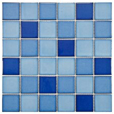 "Pool 2"" x 2"" Porcelain Mosaic Tile in Marine"