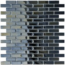 """Sable 0.5"""" x 1.875"""" Glass Mosaic Tile in Black Mirror"""