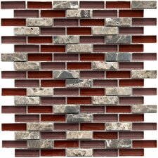 """Sierra 0.5"""" x 1.875"""" Glass and Natural Stone Mosaic Tile in Bordeaux"""