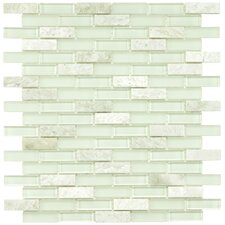 """Sierra 0.5"""" x 1.875"""" Glass & Natural Stone Mosaic Tile in Ming"""