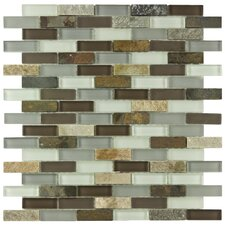 """Sierra 0.5"""" x 1.875"""" Glass and Natural Stone Mosaic Tile in Tundra"""