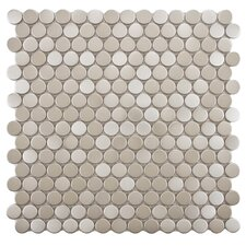 "Metallic Metal and Porcelain 11.75"" x 11.75"" Mosaic Tile in Silver"