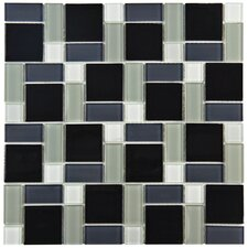 Ambit Random Sized Glass Mosaic Tile in White and Black