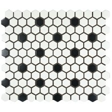 "Retro 0.875"" x 0.875"" Porcelain Mosaic Tile in Matte White with Black Dots"