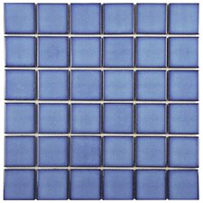 "Pool 2"" x 2"" Porcelain Mosaic Tile in Cerulean"