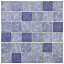 "Pool 2"" x 2"" Porcelain Mosaic Tile in Aegean"