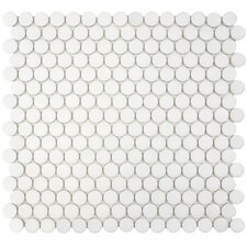 """Penny 12.25"""" x 12"""" Porcelain Mosaic Floor and Wall Tile in White"""