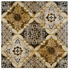 """Dane 17.75"""" x 17.75"""" Decor Ceramic Floor and Wall Tile in Brown"""