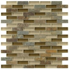 """Sierra 0.5"""" x 1.875"""" Glass and Natural Stone Mosaic Tile in Brixton"""