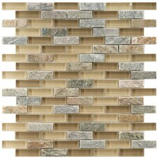 """Sierra 0.5"""" x 1.875"""" Glass and Natural Stone Mosaic Tile in Suffolk"""