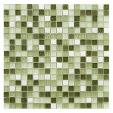 "Sierra 0.625"" x 0.625"" Glass and Natural Stone Mosaic Tile in Emerald Isle"