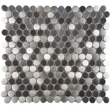 "Vulcan Metal and Porcelain 11.88"" x 11.88"" Mosaic Tile in Silver"