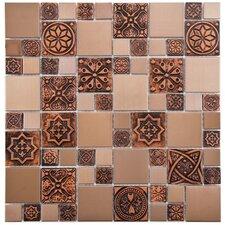 Metallic Random Sized Resin and Metal, Porcelain Mosaic Tile in Copper